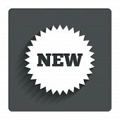 New sign icon. New arrival star symbol.