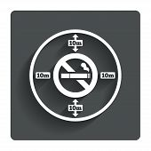 No smoking 10m distance sign icon. Stop smoking