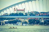Bratislava castle and Apollo bridge, Slovakia