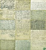 Antique Postcards. Old Handwritten Undefined Texts