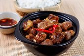 (COM SUON RIM) Vietnamese cuisine: Shallow fried pork with steamed rice and fish sauce