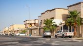 Rahima, Saudi Arabia - May 14, 2014: Street View With Parked Cars, Saudi Arabia