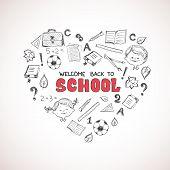 School objects in the shape of heart.