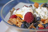 Corn Flakes With Berries And Cottage Cheese. Delicious Cereal Breakfast.