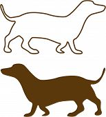 Illustration Of Sketched Dachshund Brown Silhouette Isolated On White Background