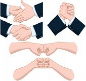 stock photo of bump  - Vector illustrations pack of various hand shakes and fist bumps - JPG