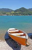 Lonely Boat At The Seaside Of Bavarian Lake Tegernsee