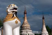 Large Lion Guardian At Maha Muni Temple,Myanmar.