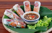 Wrapped rolls, typical Vietnamese cuisine, skin of  it  is soft, thin paper-like crepe or pancake ma