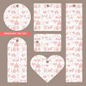 Tag set with wedding ornament.Pink pattern