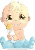 foto of diaper  - beautiful baby in diaper on white background - JPG
