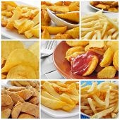 a collage of some pictures of different types of fried potatoes, such as french fries, potato chips, home fries or patatas bravas
