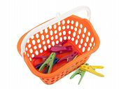 Clothes Pegs And Basket