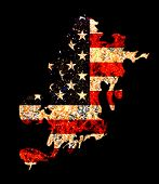 Flame Shape Usa Flag In Grunge Style