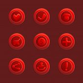 Set Of Red Vector Elements For Ui Game