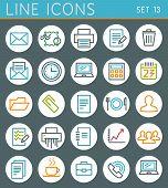 Line Geometric Icons Set. Summer Holidays Vector Web Design Elements