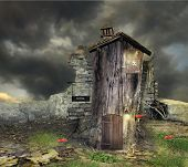 picture of unique landscape  - Fantasy landscape with a tree with door window and roof like a house with many details in a magical atmosphere - JPG