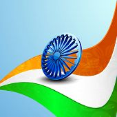 Stylish 3D Asoka Wheel on national flag colors wave on blue background for 15th of August, Indian In