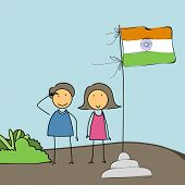 Cute little boy and girl saluting to Indian National Flag on national flag background for 15th of August, Indian Independence Day celebrations.