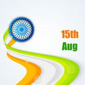 Creative national tricolors wave with Asoka Wheel on blue background for 15th of August, Indian Inde