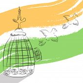 Pigeons coming out from cage, freedom symbol on national tricolors background for 15th of August, In