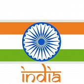 Indian Independence Day celebrations concept with national flag and stylish text India on grey backg
