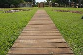 stock photo of cabana  - Wooden pier style path leading to a place with cabanas, and grass background.
