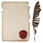 Aged Paper Sheet With Wax Seal And Ink Feather Pen