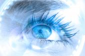 Composite image of close up of female blue eye against dial interface