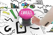 The word tweet and businesswoman pointing against pink push button