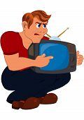 Cartoon Man Holding Old Tv