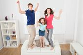 Portrait Of Excited Family Jumping On Sofa
