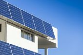 picture of track home  - Adjustable solar panel installation on modern home  - JPG