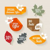 Collection of autumn sales stickers in flat design style
