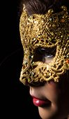 Colorful Venetian carnival mask, close-up.