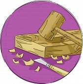 Icon Illustration Featuring Woodworking Materials