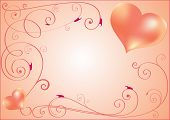 Greeting card with two hearts and curls