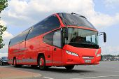 Red Neoplan Coach Bus