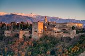 image of royal palace  - View of Alhambra palace at sunset Granada Spain - JPG