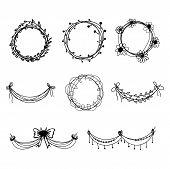 Set of black hand-drawn floral  design elements