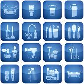 Cobalt Square 2D Icons Set: Bath