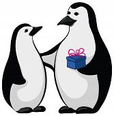 Penguins with a gift box