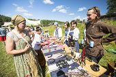 SOGINITSY, RUSSIA - JULY 26, 2014: Unidentified participants during folk festival Ivan-Tea (lat. Cha