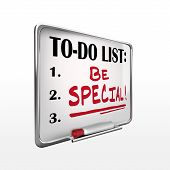 The Word Be Special On To-do List Whiteboard