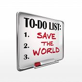 Save The World On To-do List Whiteboard