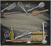 Hand drawn design with kitchen utensils on a chalkboard, place for text. Eps10