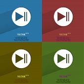 color set Play button web icon, flat design
