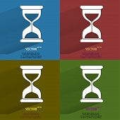 Color set Sand clock. Glass timer . Flat modern web button with long shadow and space for your text