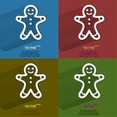 Color set Gingerbread. Flat modern web button with long shadow and space for your text.