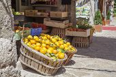 pic of local shop  - Boxes of lemons in a fruit shop in the village Valldemosa Majorca island Spain